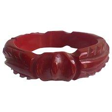 Bakelite  Bangle Bracelet  Carved Knot & Leaf Red