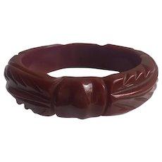 Bakelite  Bangle Bracelet  Carved Knot & Leaf Brick Red