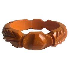 Bakelite  Bangle Bracelet  Carved Knot & Leaf Marigold Yellow