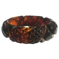 Bakelite  Bangle Bracelet  Carved Pineapple and Flower