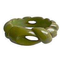 Bakelite  Bangle Bracelet  Heavily Carved & Chunky