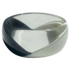 Lucite Bangle Bracelet Clear Black and White ca 1960s
