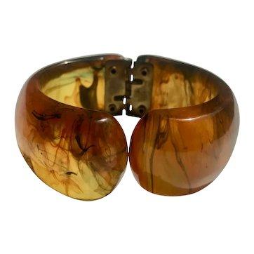 Bakelite Hinged Clamp Bakelite Bracelet Transparent & Marbled