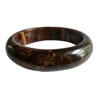 Bakelite  Bangle Bracelet  Heavily Marbled in Brown and Orange