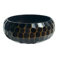 Bakelite Carved Honeycomb Resin Washed Bakelite Bangle Bracelet