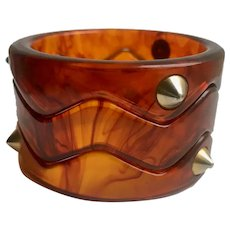 Bakelite Carved ZigZag Bangles Set of 3 with Studs