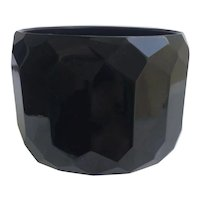 "Bakelite Bangle Bracelet Carved in Black Facets 2"" Wide"