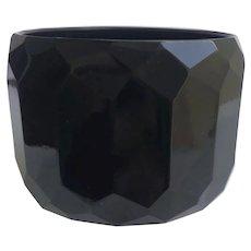 """Bakelite Bangle Bracelet Carved in Black Facets 2"""" Wide"""