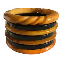 Bakelite Bangle Bracelets Stack of 7 Carved, Translucent, Marbled
