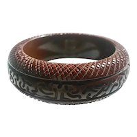 Bakelite Bangle Bracelet Heavily Carved Thick and Chunky