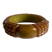 "Bakelite Bangle  Bracelet Heavily Carved & 1/2"" Thick"