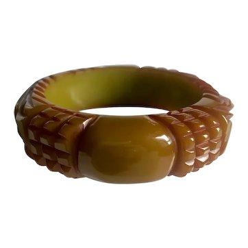 "Bakelite Bangle  Bracelet Heavily Carved & 1/2"" Thick"