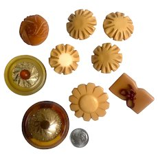 Bakelite Buttons Carved Nine (9) Assorted