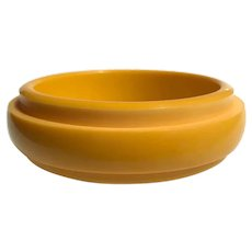 Bakelite Bangle Bracelet Step Carved Resin Washed Deep Yellow on Yellow #4