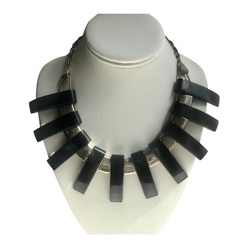 Art Deco Black Bakelite and Chrome Fin Necklace