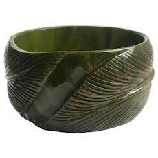 Bakelite Bangle Bracelet  Carved in Wide Leaf Pattern in Green