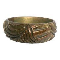 Bakelite  Bangle Bracelet Carved Clad