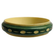 Celluloid Bangle Bracelet Carved with Teal Green Wash