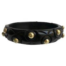 Black Bakelite Bangle Bracelet Carved with Brass Studs