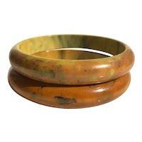 Bakelite  Bangle Bracelets  Pair of Marbled End Of Day