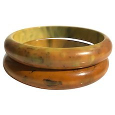 Bakelite  Bangle Bracelets  Pair of Marbled End Of Day