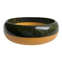Bakelite  Bangle Bracelet Laminated Marbled Green & Yellow