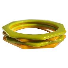 Bakelite Bangle Bracelets Set of 4 Juicy Octagonal Shaped