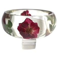 Lucite Transparent Bangle Bracelet with Embedded Flowers & Leaves