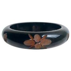 Bakelite Bangle Bracelet Carved and Resin Washed in Black