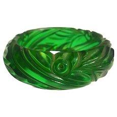Bakelite  Bangle Bracelet  Carved Transparent Green Leaves