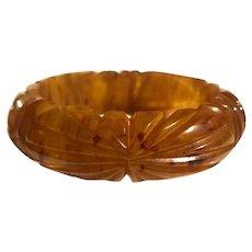 Bakelite  Bangle Bracelet  Carved Apple Juice Marbled