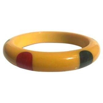 Bakelite  Bangle Bracelet  Carved 6 Dot Multo Color