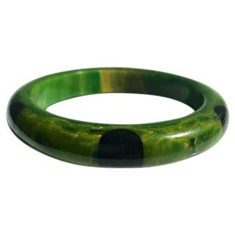 Bakelite  Bangle Bracelet  6 Dot Green Black Dots