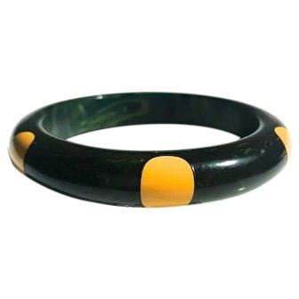 Bakelite  Bangle Bracelet  6 Dot Dark Blue with Yellow  Dots