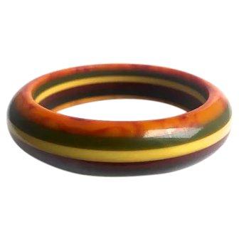 Bakelite  Bangle Bracelet  Carved 6 Color Laminate