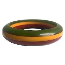 Bakelite  Bangle Bracelet  Carved Four Color Laminate As Is