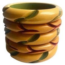 Bakelite  Bangle Bracelet  Stack Carved & Resin Washed