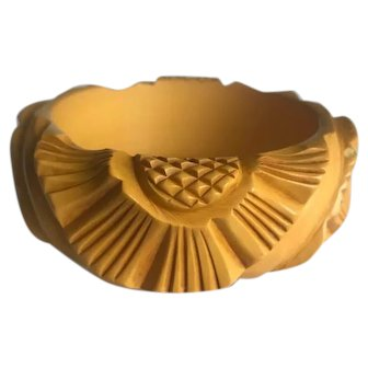Bakelite  Bangle Bracelet  Carved & Chunky  Flowers and Pineapple