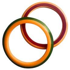 Bakelite  Bangle Bracelets Laminated Red Green Yellow
