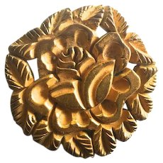Bakelite Brooch Carved and Clad in Goldtone