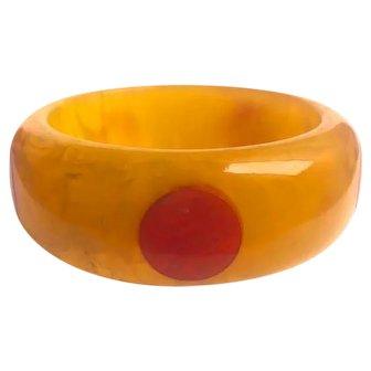 Bakelite  Bangle Bracelet  5 Dot Pineapple with Red  Dots