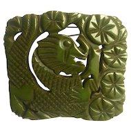 "Bakelite 3"" Carved Dragon Brooch"