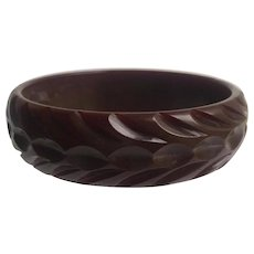 Bakelite  Carved Bangle Bracelet