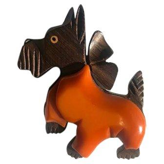 Bakelite & Wood Puppy Dog Carved Laminated