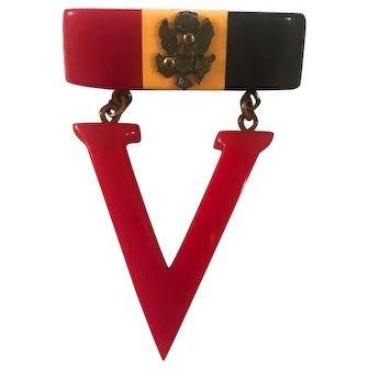 Bakelite V for Victory Pin Original 1940s