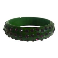 Bakelite  Bangle Bracelet  with Purple Rhinestones