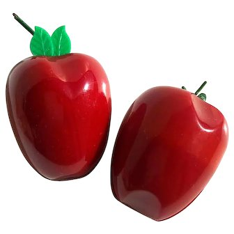 Pair of Chunky Bakelite Apple Pins Brooches