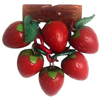 Bakelite Carved Strawberries Dangling Brooch Pin