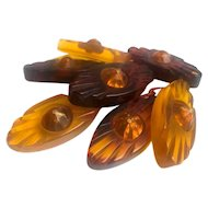 Bakelite Carved Transparent Dangly Brooch with Cabochons
