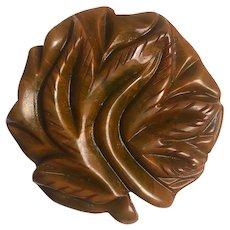 Bakelite Carved Round Flower Brooch Pin
